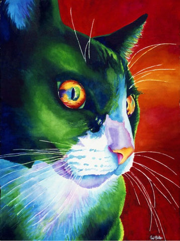 Smudge: Signed Print from original watercolor cat painting.