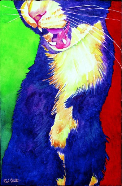 Smudge Yawn: Signed Print from original watercolor cat painting.
