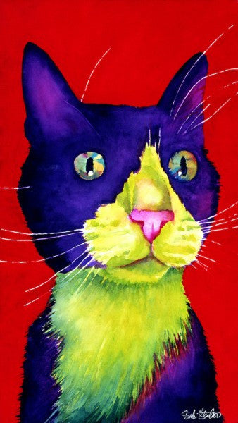 Snicker Smudge: Signed Print from original watercolor cat painting.
