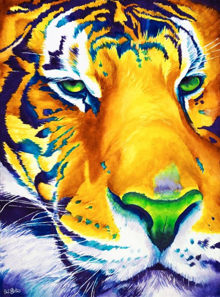 Zuri's Awareness: Signed Print from original watercolor tiger painting.