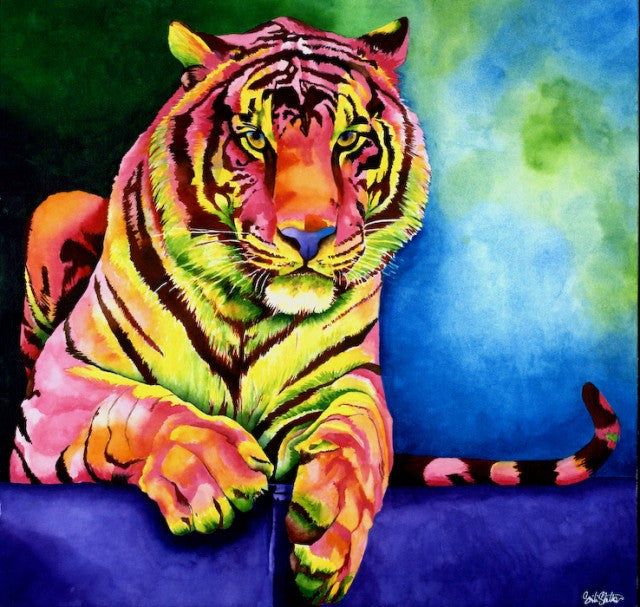 Zuri's Tail: Signed Print from original watercolor tiger painting.