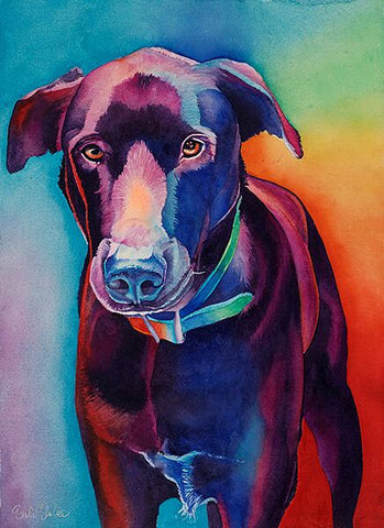 Barney: Signed Print from original watercolor dog painting.