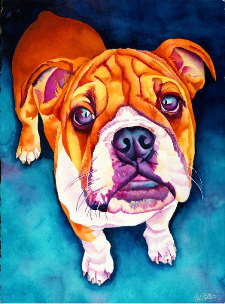 Elby: Signed Print from original watercolor american bulldog puppy painting.