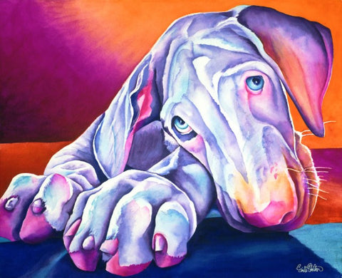 Gomez: Signed Print from original watercolor great dane puppy painting.