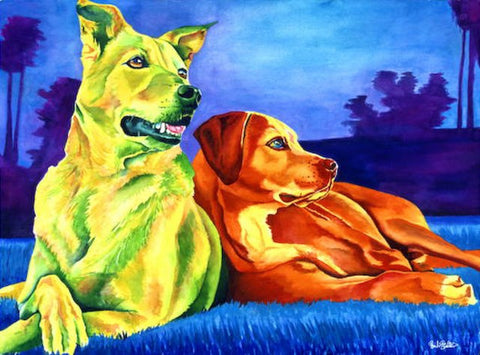 Gunny & Bogey: Signed Print from original watercolor dogs painting.