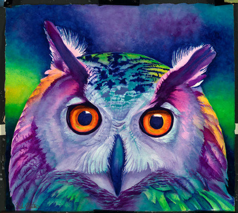 Hoot: Signed Print from original watercolor owl painting.