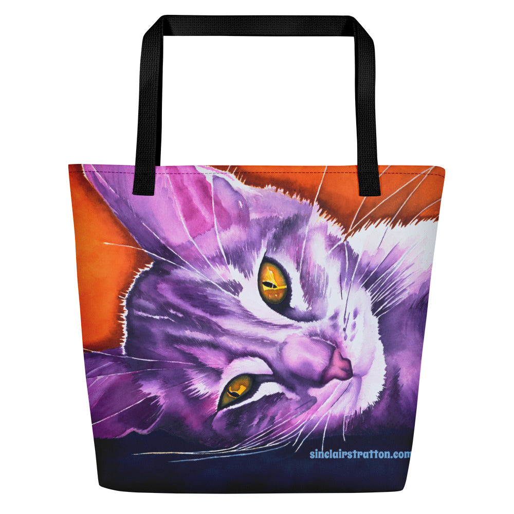 Daisy Mae Cat Beach Tote Bag