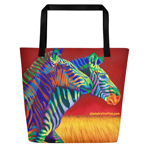 "Zebra ""Carousel"" Beach Tote Bag"