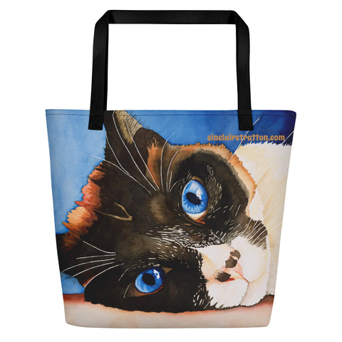 Vinca Cat Beach Tote Bag