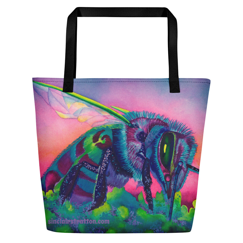 Blue Bee Beach Tote Bag