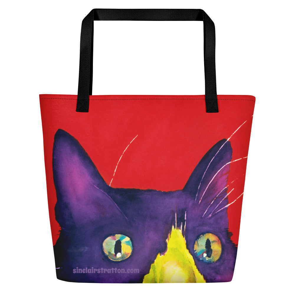 Snicker Smudge Cat Beach Tote Bag