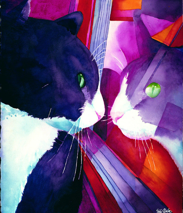 Reflective Smudge: Signed Print from original watercolor cat painting.