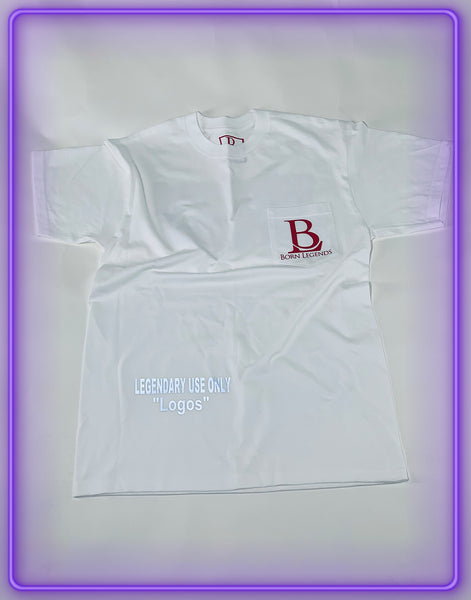 "White Pocket T-Shirt With 3M Reflective ""Legendary Use Only"" and Red Logo (Limited Logo Collab)"