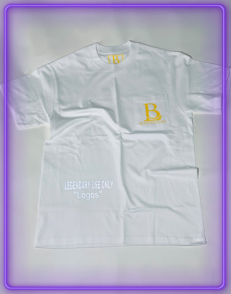 "White Pocket T-Shirt With 3M Reflective ""Legendary Use Only"" and Yellow Logo (Limited Logo Collab)"