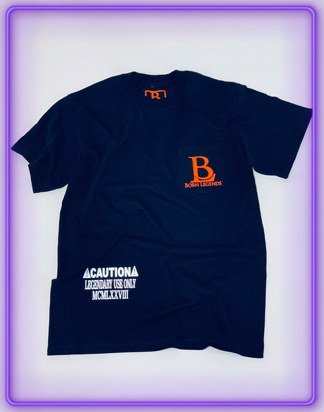 "Black Pocket T-Shirt With 3M Reflective ""Legendary Use Only"" and Neon Orange Logo"
