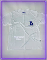 "White Pocket T-Shirt With 3M Reflective ""Legendary Use Only"" and Royal Blue Logo (Limited Logo Collab)"