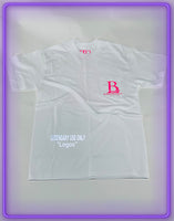 "White Pocket T-Shirt With 3M Reflective ""Legendary Use Only"" and Pink Logo (Limited Logo Collab)"