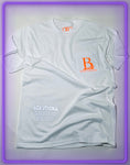 "White Pocket T-Shirt With 3M Reflective ""Legendary Use Only"" and Neon Orange Logo"