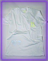 "White Pocket T-Shirt With 3M Reflective ""Legendary Use Only"" and Neon Green Logo"