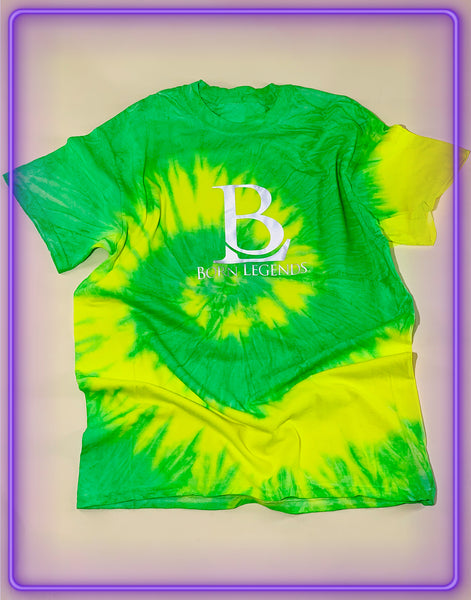 Born Legends Limited Edition 3m Reflective Tie-Dye Green and Yellow T-Shirt