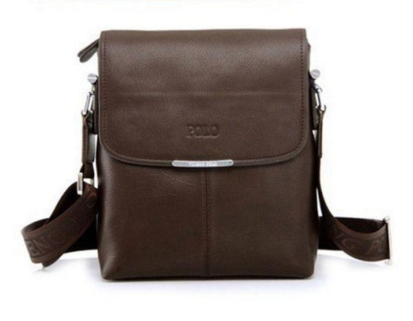 Men 's Dark Brown POLO Leather Shoulder Messenger Bag USA Seller FREE Shipping
