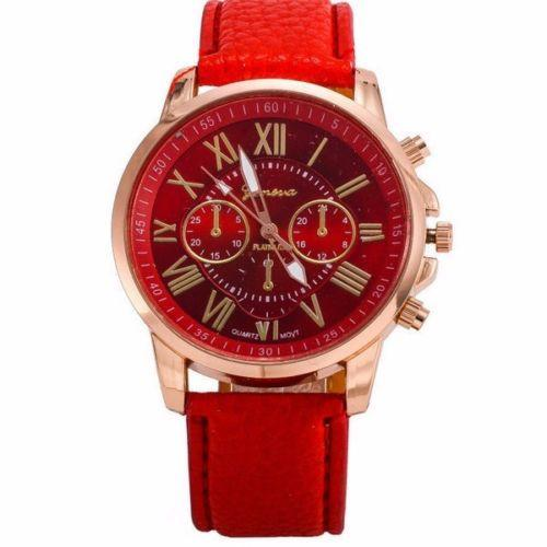 Geneva Red Chronograph Watch