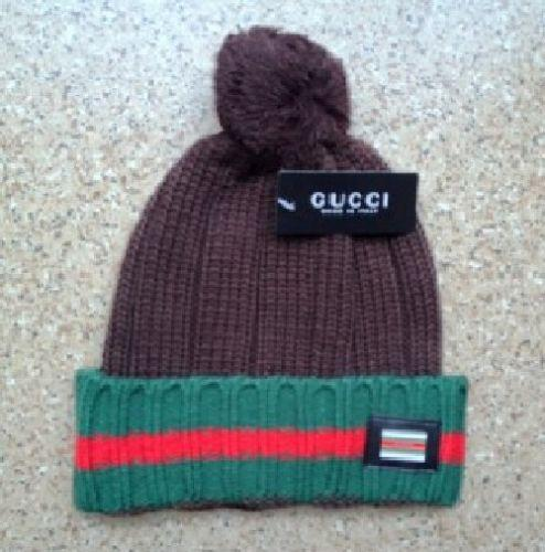 Gucci Knit Wool Web Hat (Brown)