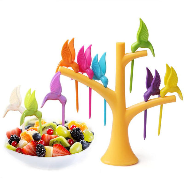Birds on a Tree Fruit Pick Set (7 Pieces)