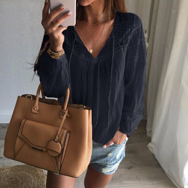Women's Long Sleeve Lace Detailed Blouse