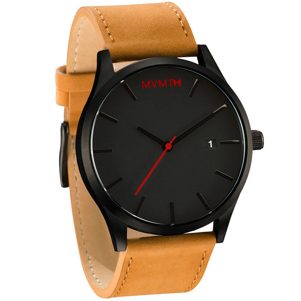 MVMT Black/Tan Leather Watch