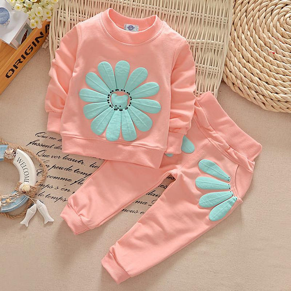 Kids Flower 2 Piece Fleece Set