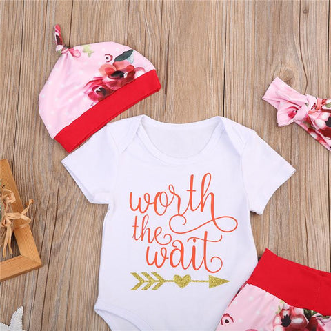 "Baby ""Worth the Wait"" 4 Piece Floral Set"
