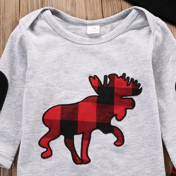 Baby Plaid Moose 3 Piece Set