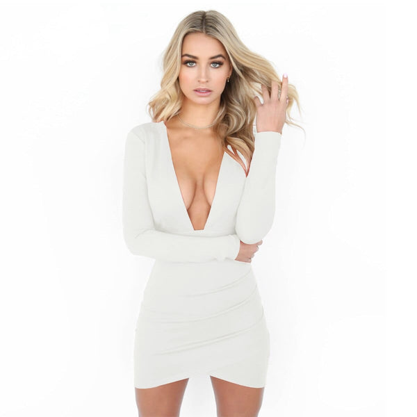Women Deep V Neck Backless Dress