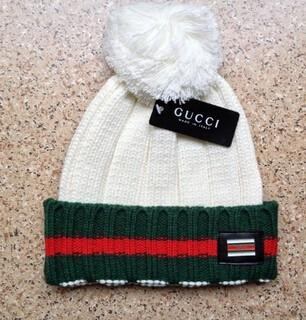 Gucci Knit Wool Web Hat (White)