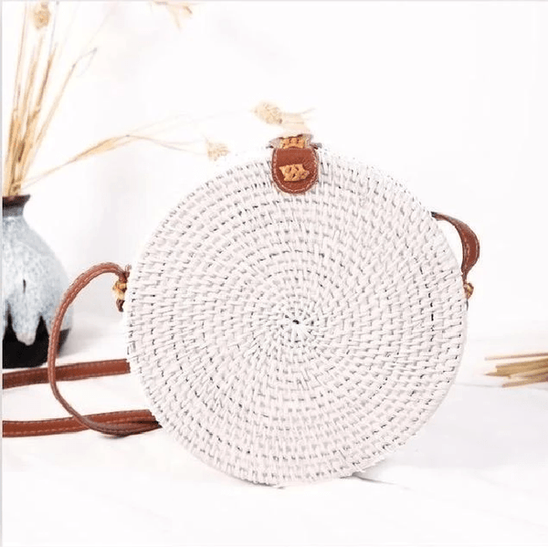 Women's Circular Wicker Purse