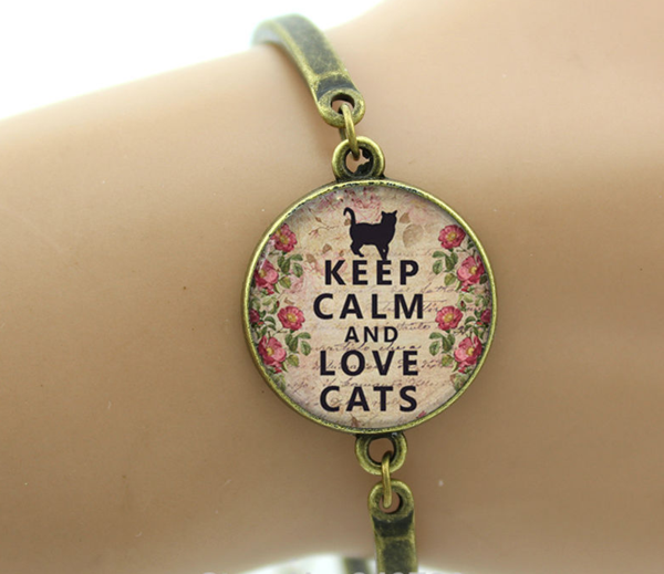 """Keep Calm and Love Cats"" Bracelet"