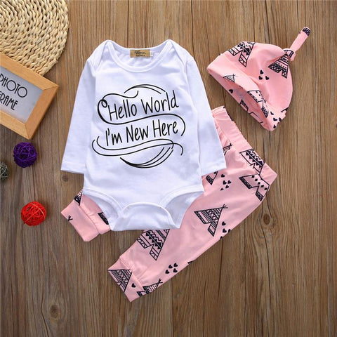 """Hello World, I'm New Here"" - 3 Pc Baby Set"