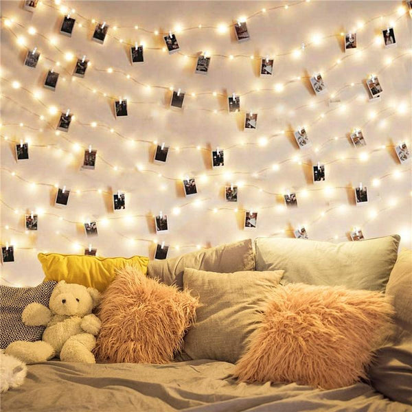 LED String Lights With Clothespins