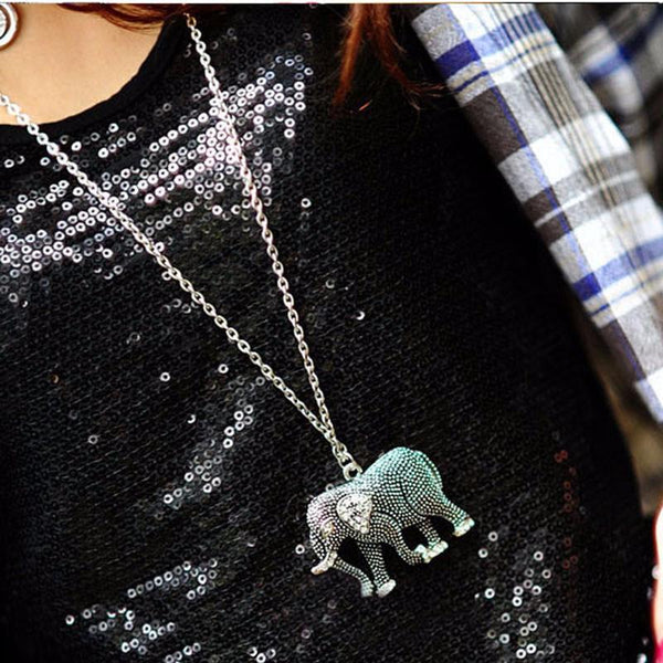 Lucky Vintage Rhinestone Elephant Long Chain Necklace