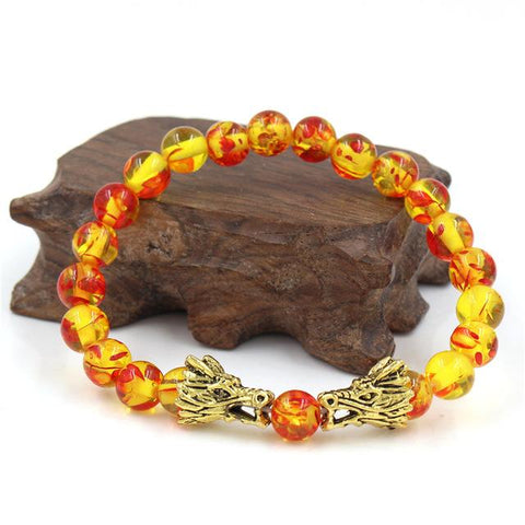 Dragon Lava Stone Beads Bracelet