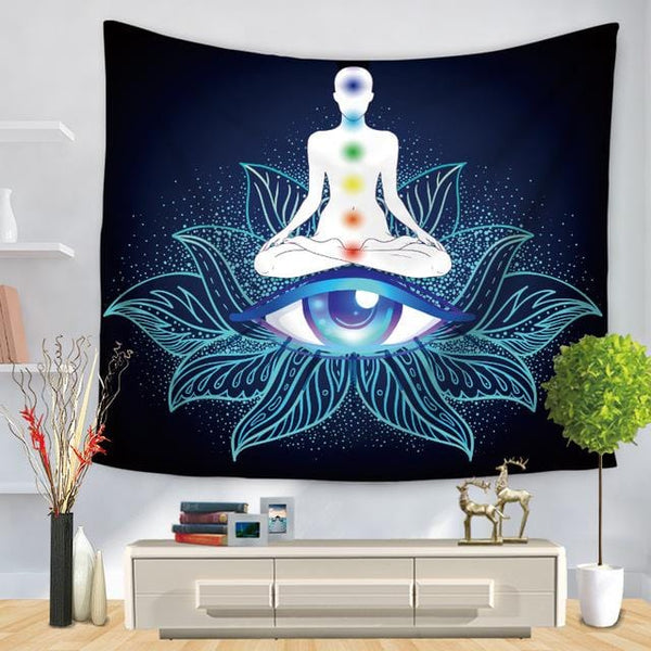 Buddha Statue Patterned Tapestry