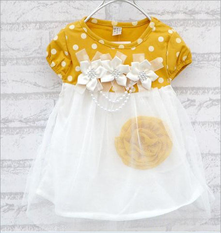 Dotted Flower Dress for Baby Girls