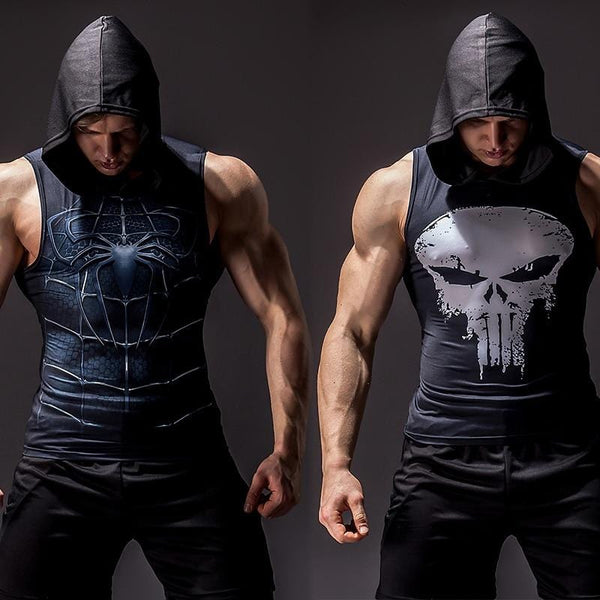 Men Superhero Sleeveless Hooded Compression Shirt