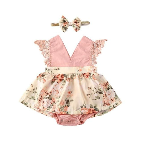 Baby Girl Lace Ruffle Romper Headband Set