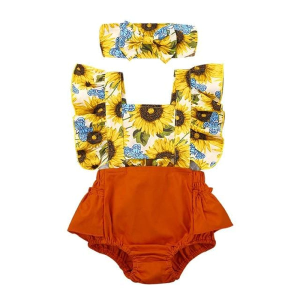Baby Girl Sunflower Ruffle Sleeveless Romper Set