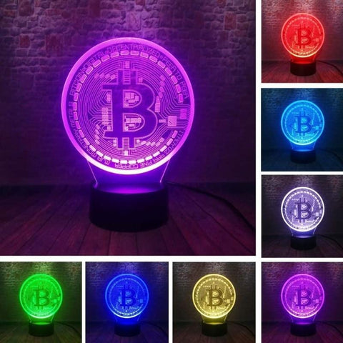 3D Bitcoin Acrylic LED Night Light