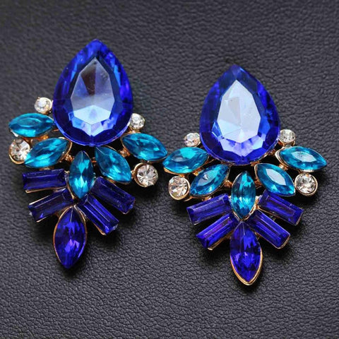 Women's Colored Rhinestone Stud Earrings
