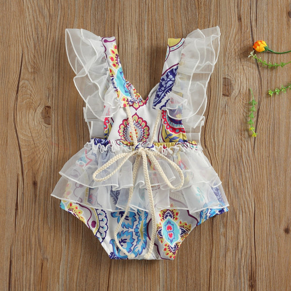 Baby Girl Chiffon Embroider Floral Rompers