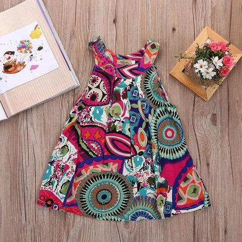 Tribal Flower Print Autumn Dress for Kids